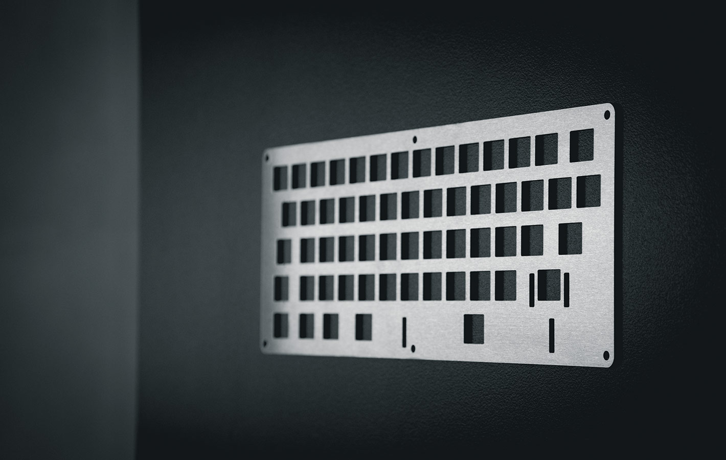 Laser cut keyboard plate by Lasergist