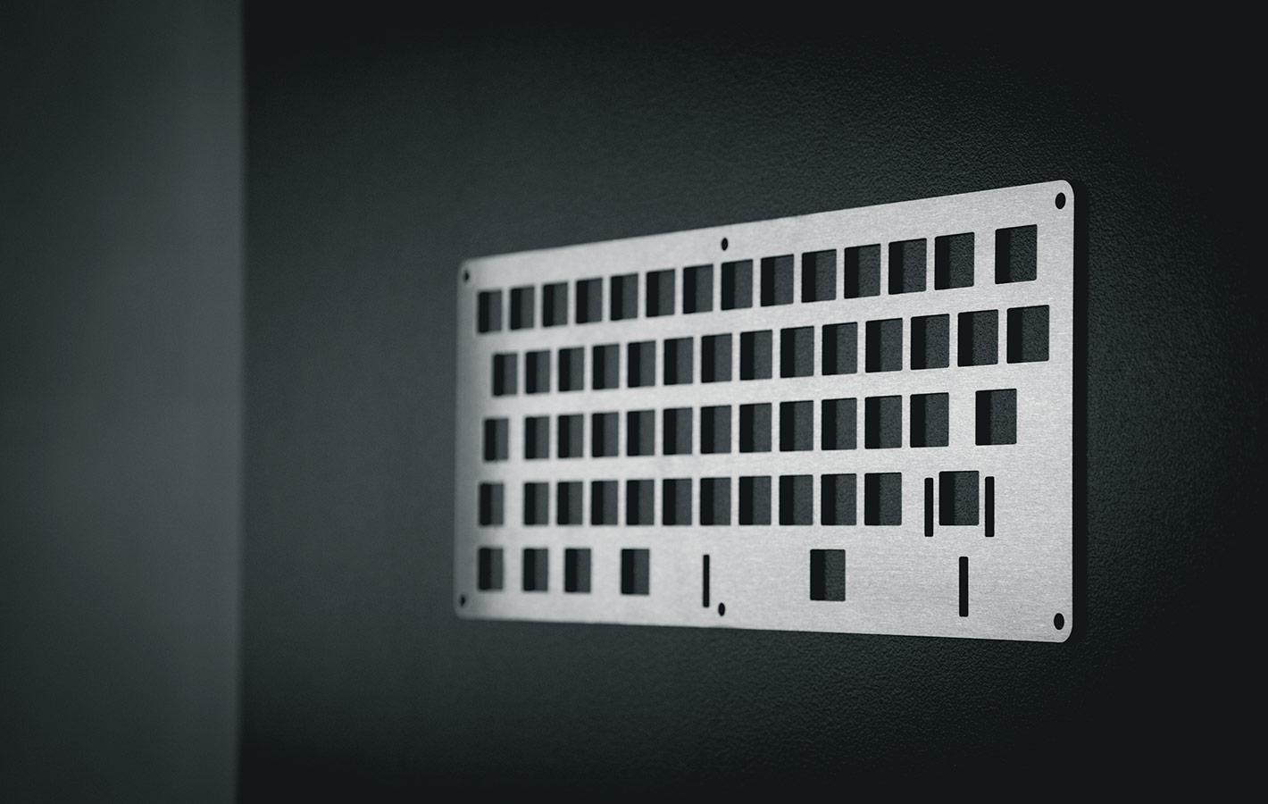Laser cut keyboard plate by Lasergist